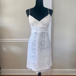 White Lace Fitted Summer Dress Size 14
